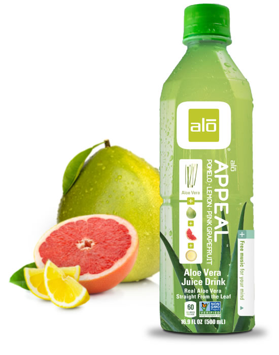 Real aloe vera juice with pomelo, lemon, and pink grapefruit