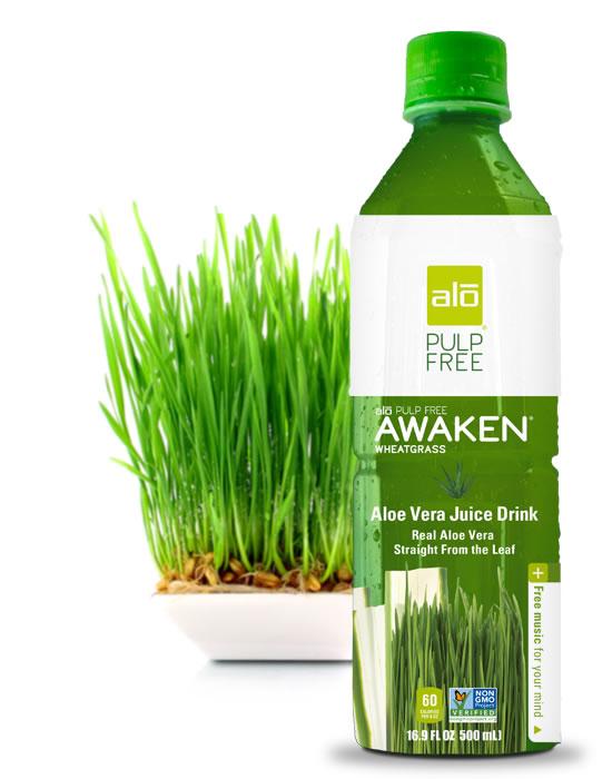 Real pulp-free aloe vera juice with wheatgrass