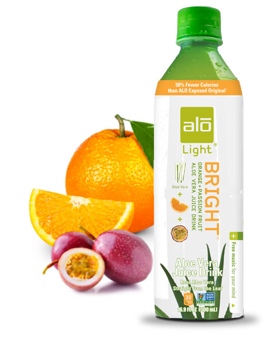 Orange, passion fruit and aloe vera juice with 50% fewer calories than ALO Original