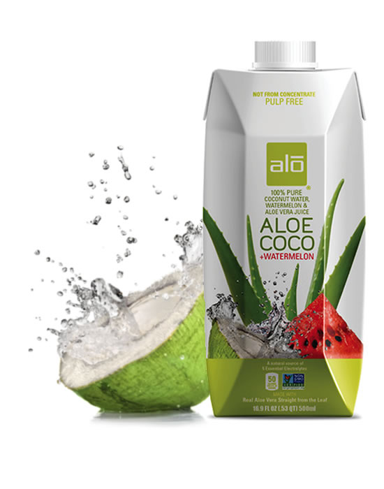 ALO Drink 100% pure coconut water with watermelon and real aloe vera juice
