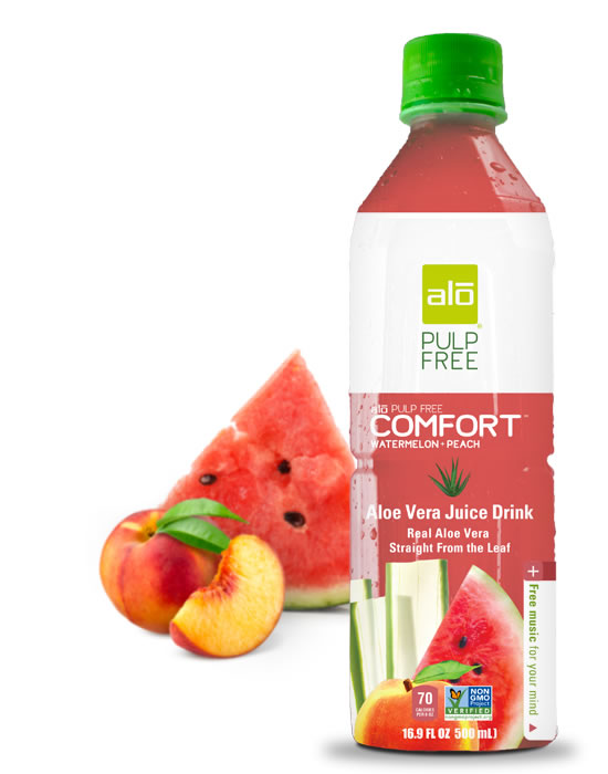 Real pulp-free aloe vera juice with watermelon and peach