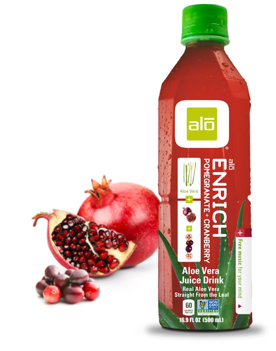 Real aloe vera juice with pomegranate and cranberry