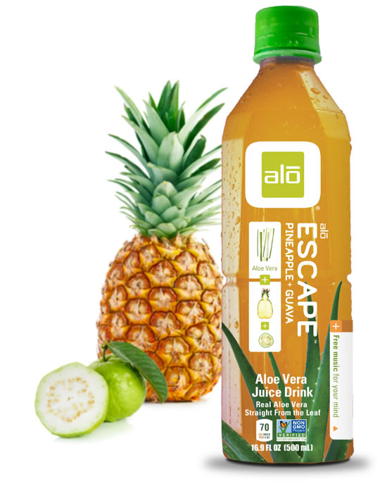 Real aloe vera juice with pineapple and guava