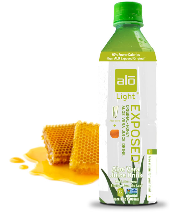 Aloe vera juice and honey with 50% fewer calories than ALO Original