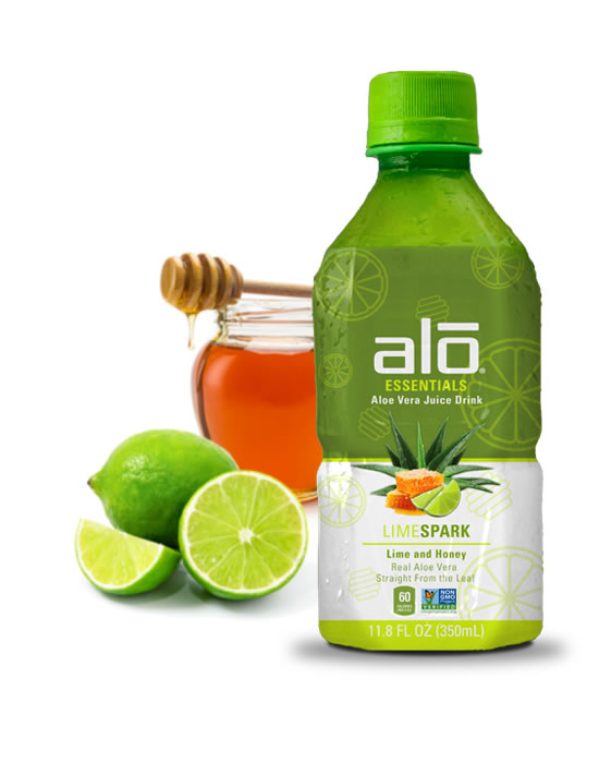 Real aloe vera juice and pulp with a zap of fresh lime
