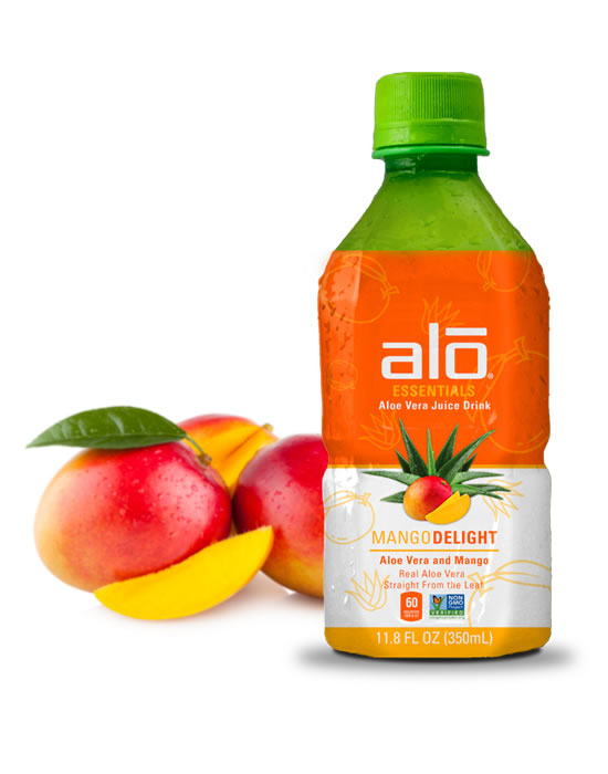Real aloe vera juice and pulp blended with mango