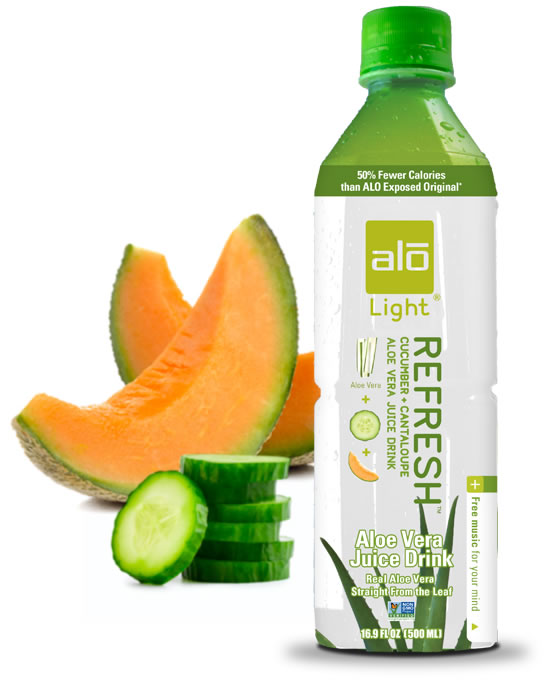 Cucumber, cantaloupe and aloe vera juice with 50% fewer calories than ALO Original
